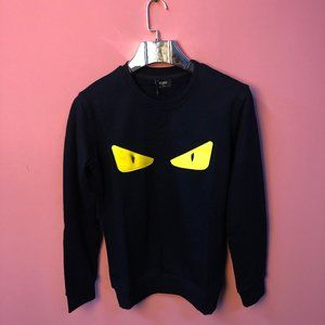 Fendi Men Yellow Monster Eye Dark Navy Sweatshirt